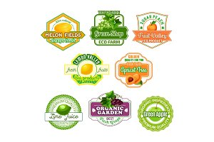 Vector icons for fruit juice or farm market