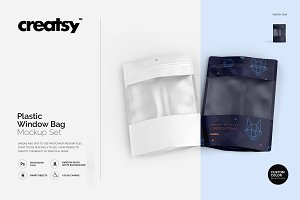 Plastic Window Bag Mockup Set