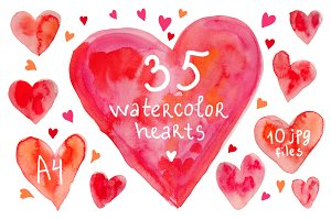 Watercolor hearts set #2