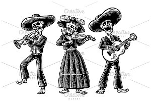 skeleton sing play theguitar, violin
