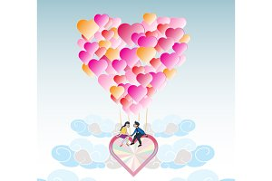 Lover on heart balloon