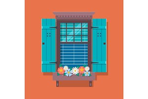 Elements of architecture , window background. Window with flower pots on a wall. Cartoon house element. Cute summer vector illustration