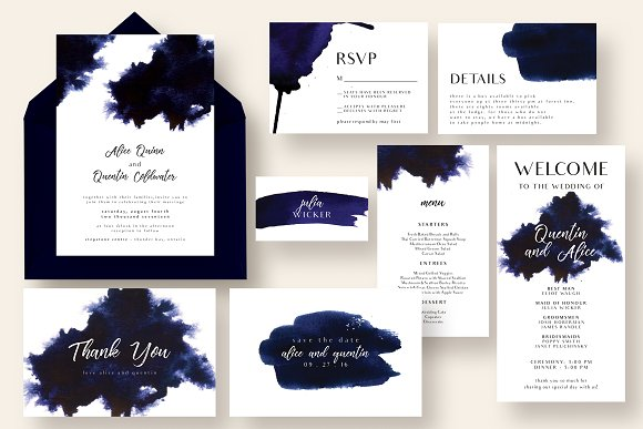 Chic Indigo Ink Wedding Suite