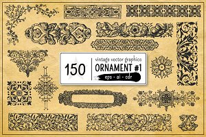 150 Vintage Vector Ornament Vol. 1