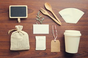 Coffee and craft vintage mockup set