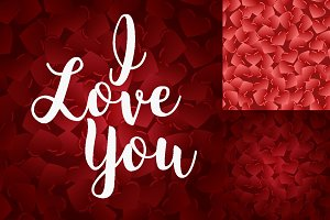 Red hearts seamless vector pattern