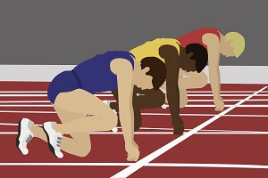 Athletes on the starting blocks