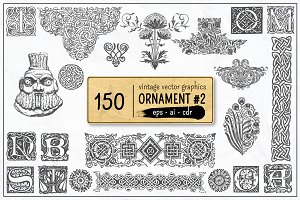 150 Vintage Vector Ornament Vol. 2