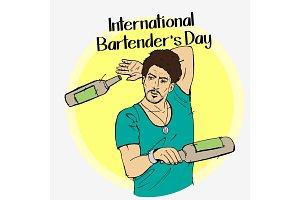 Barman day vector illustration.
