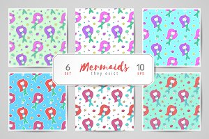 Mermaids, seamless patterns
