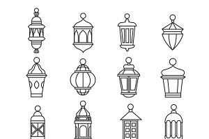 Muslim antique lamp symbols
