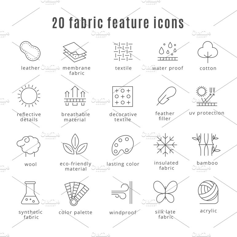 Fabric Feature Line Icons Icons Creative Market