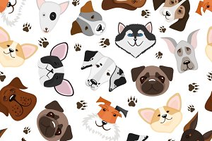 Puppy and dog seamless pattern