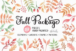 Fall Clip Art Autumn Watercolor