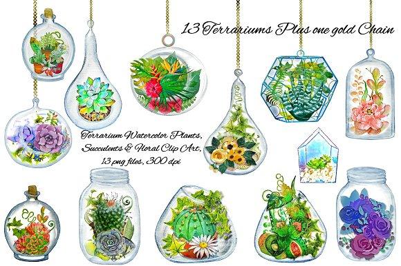 Terrarium Watercolor Plants ClipArt