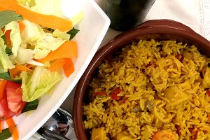 Spanish paella and salad