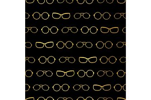 Vector black and gold glasses stripes accessories seamless pattern. Great for eyewear themed fabric, wallpaper, packaging.