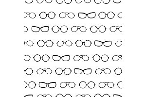 Vector black and white drawing glasses accessories seamless pattern. Great for eyewear themed fabric, wallpaper, packaging.
