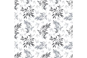 Vector dark grey white tropical leaves summer seamless pattern with tropical green, blue plants and leaves on white background. Great for vacation themed fabric, wallpaper, packaging.
