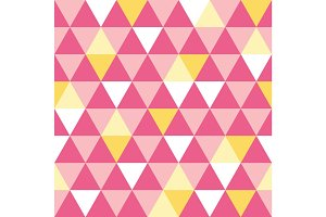 Vector pink and yellow triangle texture seamless repeat pattern background. Perfect for modern fabric, wallpaper, wrapping, stationery, home decor projects.