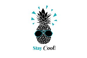 Stay cool vector pineapple wearing colorful sunglasses on summer vacation tropical lement. Great for vacation themed prints, gifts, packaging.
