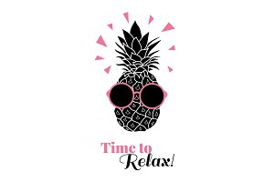 Time to relax vector pineapple wearing colorful sunglasses on summer vacation tropical lement. Great for vacation themed prints, gifts, packaging.