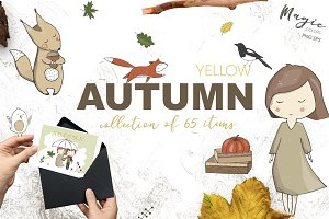Yellow Autumn Graphics Set