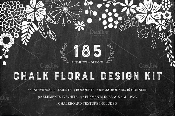 chalkboard floral design kit ai png graphic objects creative market