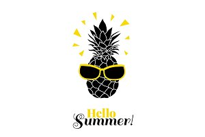 Hello Summer Vector pineapple wearing colorful sunglasses on summer vacation tropical lement. Great for vacation themed prints, gifts, packaging.