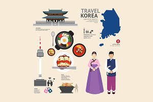 Korea Flat Icons Design Travel.