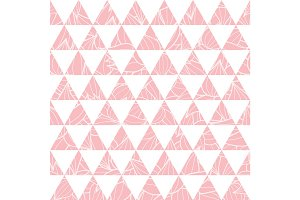 Vector salmon pink triangles and leaves texture seamless repeat pattern background. Perfect for modern fabric, wallpaper, wrapping, stationery, home decor projects.