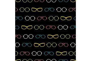 Vector colorful on black glasses accessories stripes seamless pattern. Great for eyewear themed fabric, wallpaper, packaging.