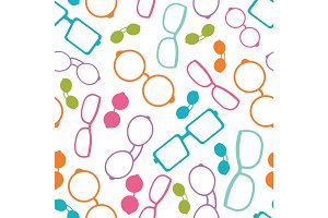 Vector colorful glasses accessories seamless pattern. Great for eyewear themed fabric, wallpaper, packaging.