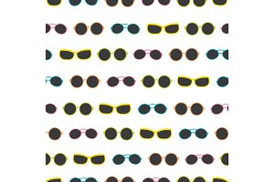 Vector dark colorful sunglasses stripes summer vacation seamless pattern. Great for vacation themed fabric, wallpaper, packaging.
