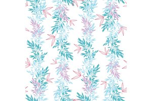 Vector blue pink tropical leaves summer vertical seamless pattern borders set with tropical pink, blue plants and leaves on white background. Great for vacation themed fabric, wallpaper, packaging.