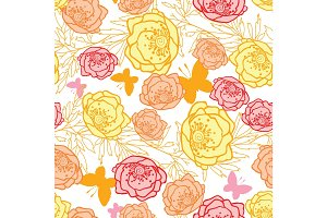 Vector pink, yellow, orange leaves, butterflies, and flowers summer seamless pattern with pastel plants and leaves on white background. Great for vacation themed fabric, wallpaper, packaging.