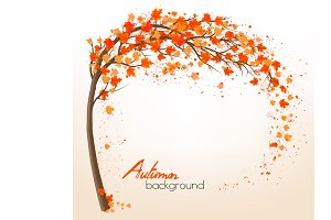 Autumn background with a tree
