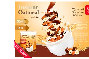 Instant oatmeal with chocolate