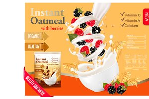 Instant oatmeal with berries