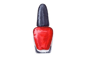 Watercolor women's red nail polish manicure isolated