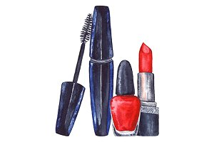 Watercolor women's mascara and red lipstick and nail polish manicure cosmetics make up set isolated