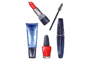 Watercolor women's mascara and cream tube and red lipstick and nail polish manicure cosmetics make up set isolated