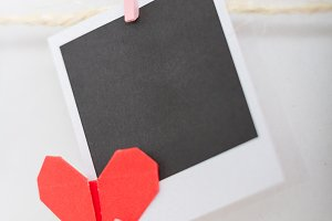 instant photo and origami hearts