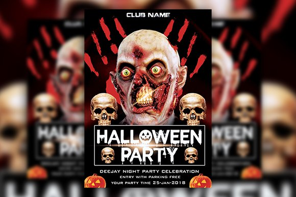 2 Halloween Party Flyer Template PSD