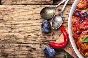 meat ragout in plum sauce