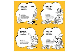 vector background set of school elements