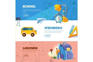 back to school web banners set