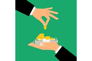 Businessman hands holding money