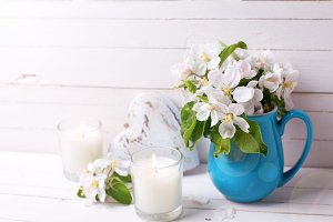 Apple tree flower, candles and heart