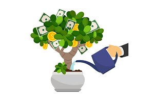 Businessman hand waterng money tree